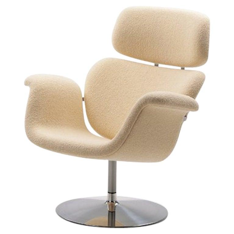 Artifort Tulip Armchair in White with Swivel Base by Pierre Paulin