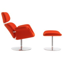 Artifort Tulip Armchair with Ottoman in Orange with Swivel Base by Pierre Paulin