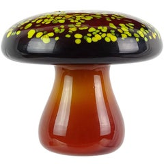 Murano Orange Yellow Italian Art Glass Mushroom Toadstool Paperweight Sculpture