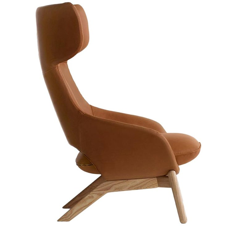 Artifort Kalm Armchair in Orange with Wooden Base by Patrick Norguet For Sale