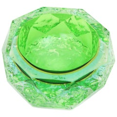 Mandruzzato Ice Glass Faceted Sommerso Green, Blue, Yellow Murano Glass Bowl