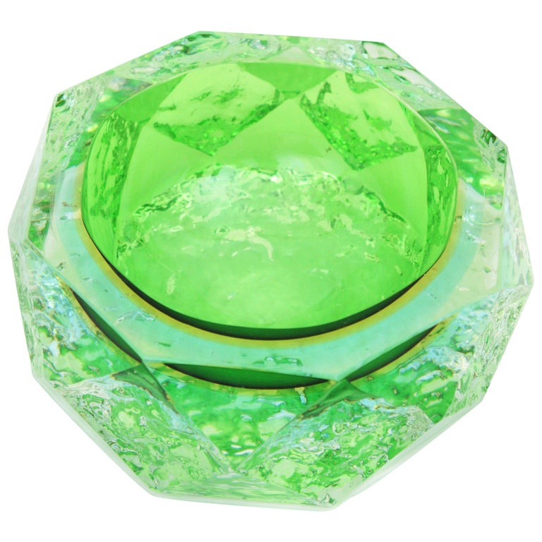 Mandruzzato Murano Ice Glass Faceted Sommerso Green Blue Yellow Art Glass Bowl For Sale
