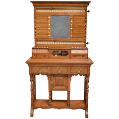 Billiard snooker  pool scoring cabinet of english oak victorian 1880