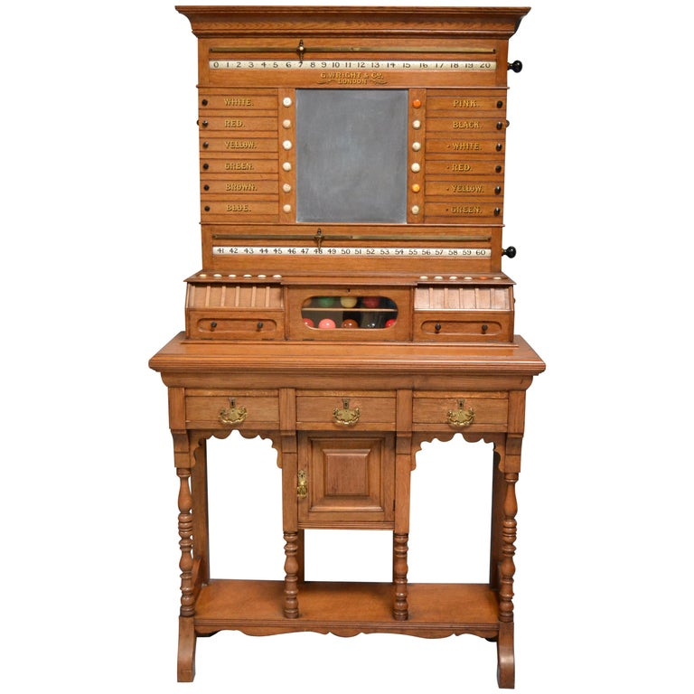 Billiard snooker  pool scoring cabinet of english oak victorian 1880 For Sale