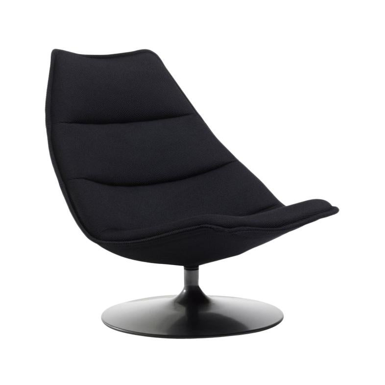 Artifort F585 High Chair in Black with Disc Base by Geoffrey D. Harcourt RDI