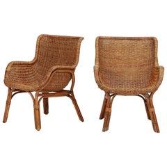 Two Bonacina Bamboo Chairs Italy, 1950s