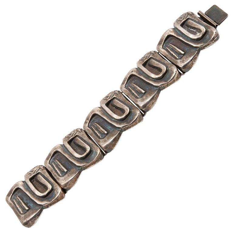 """Line Vautrin, France, """"Icare"""" Silvered Bronze Band Bracelet For Sale"""