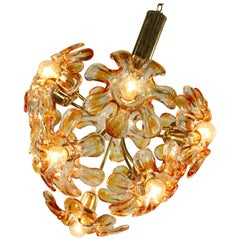 Mazzega Murano Glass Flower or Blossom Chandelier 11 Light Pendant Lamp