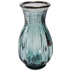 "Large Val Saint Lambert ""Printemps"" Art Deco Crystal Vase by Joseph Simon"