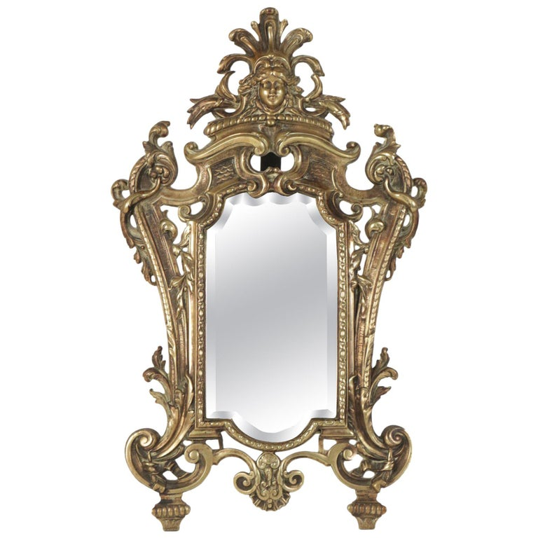 Important Vanity Mirror in Bronze Patine from the 19th Century For Sale