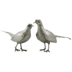 Vintage English Sterling Silver Table Pheasants
