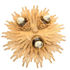 Stunning Wooden Starburst Sunburst Flush Mount Ceiling Light Fixture, 1980s