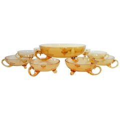 Rare Venetian Murano Glass Bowl and Cups Set, Amber Colored, 1930