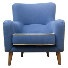 1960s Blue Upholstered with Yellow Detailing Vintage Armchair