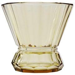 "Art Deco Val Saint Lambert ""Arcadie"" Topaze Crystal Vase"