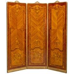 Fine Marquetry Inlaid Three-Fold Screen, circa 1900