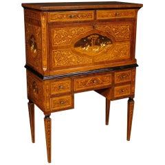 20th Century Inlaid Wood Italian Bar Cabinet or Desk, 1960