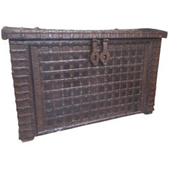 20th Century Indian Large Iron and Wood Trunk