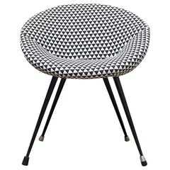 1960s Small Side Chair with Black and White Checkered Fabric