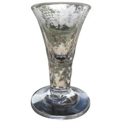 George III Firing Drinking Glass Hand Blown Facet Stem Engraved Bowl, circa 1785
