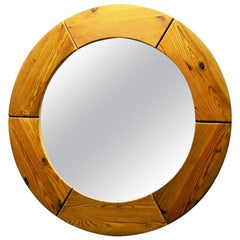 Round Pine Wall Mirror by Glasmäster Markaryd, 1950s, Sweden