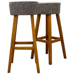 1960s Beechwood Stools with Upholstered Gray Seats