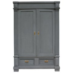 Antique German Wardrobe Made of Pine in Anthracite Color