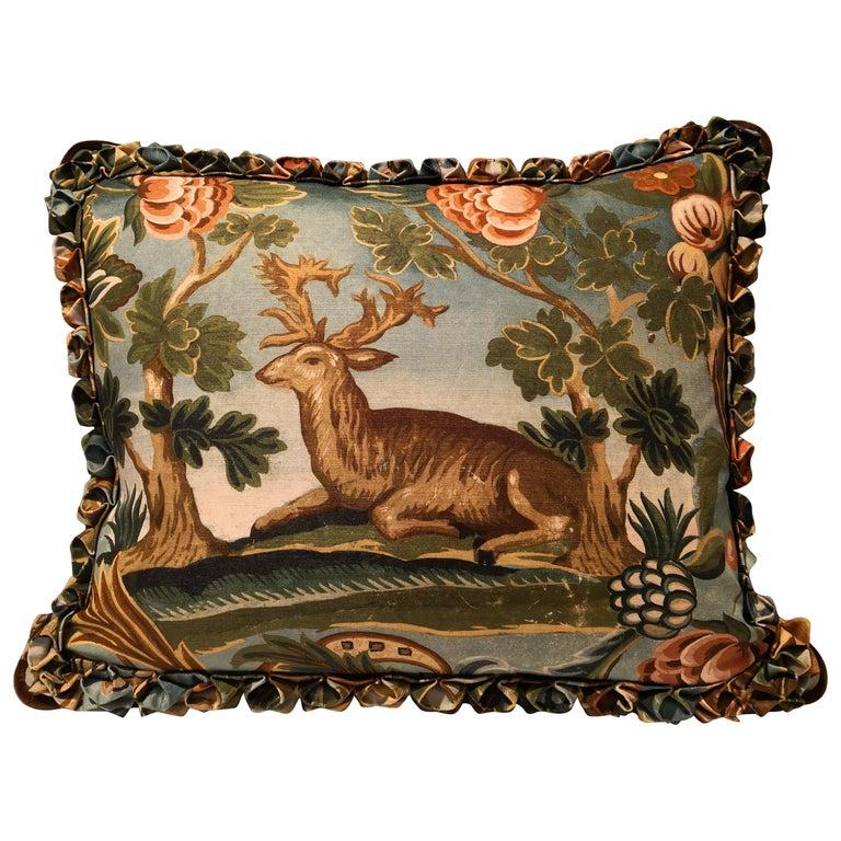 Black Forest Handmade Cushion Hunting Scene Sofina Boutique Kitzbuehel For Sale