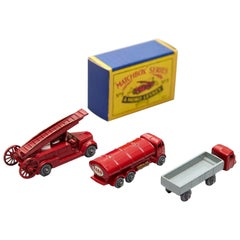 Lesney Matchboxes Series Antique Metal Toy, Three Red Fire Trucks, circa 1950