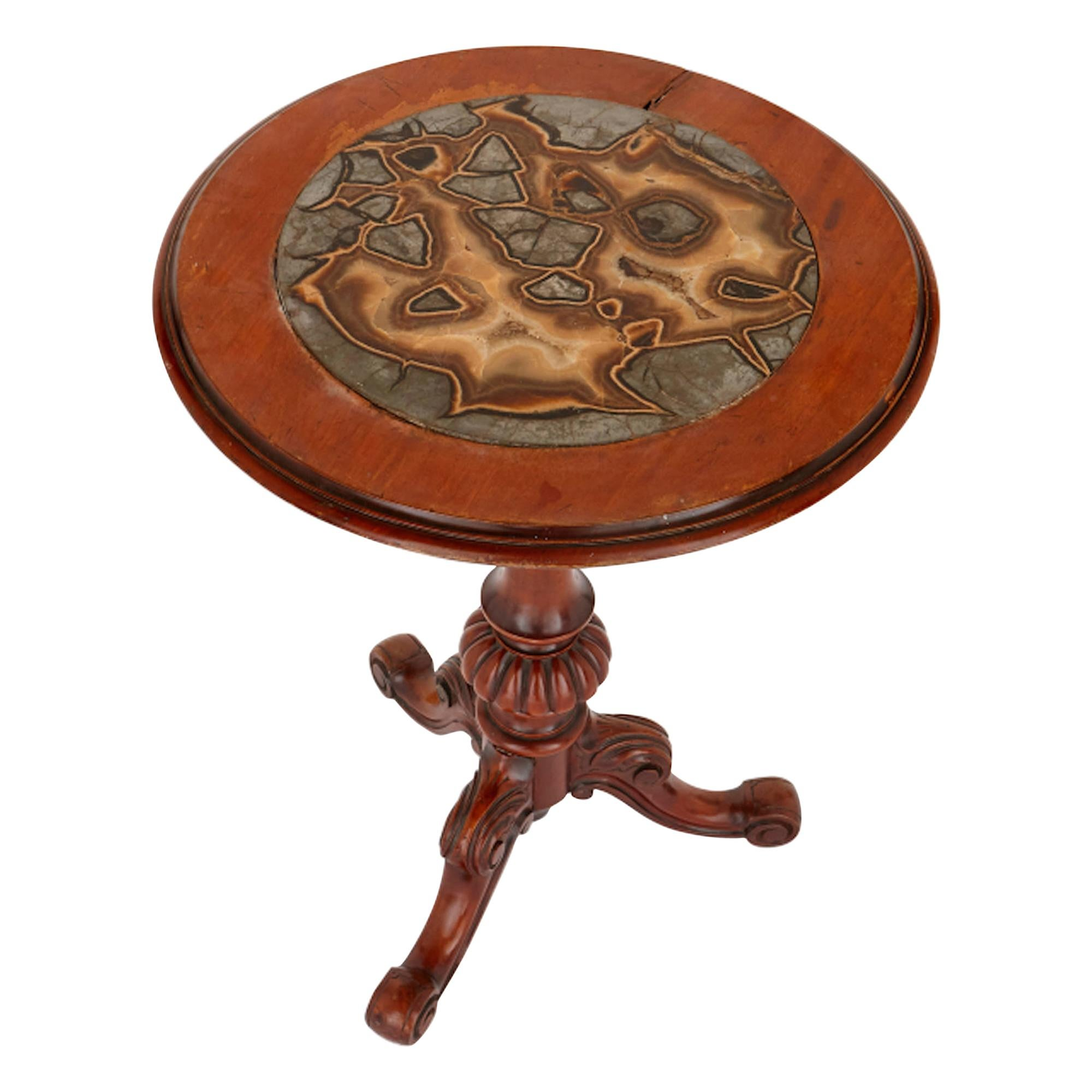 Victorian Septarian Nodule Marble and Mahogany Occasional Table