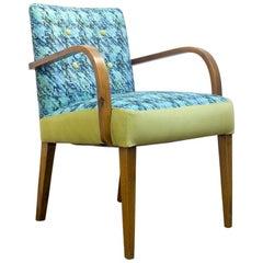Midcentury Spanish Armchair In Blue and Green Herringbone Fabric