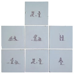 Seven Delft Ceramic Manganese Wall Tiles Hand painted Children's Games