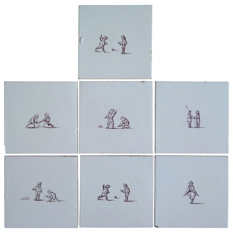 Seven Delft Ceramic Manganese Wall Tiles Hand painted Children's Games For Sale