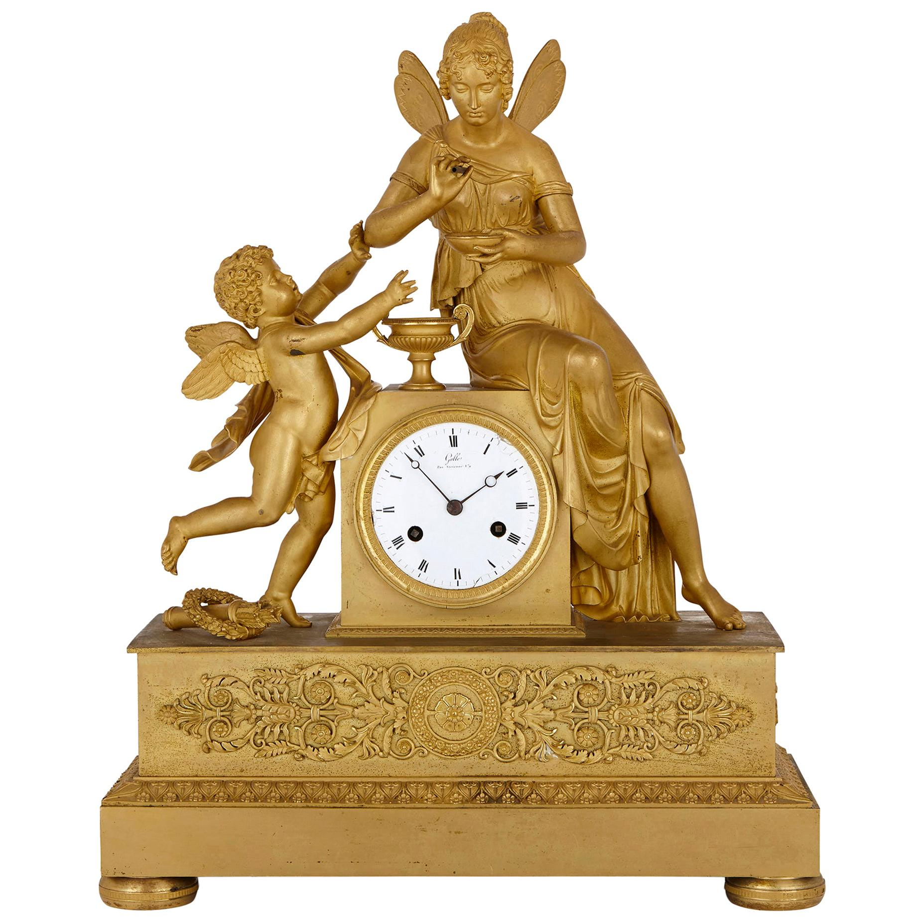 Empire Period Gilt Bronze Mantel Clock by Galle