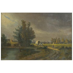 """Path to Town"" Antique Landscape Oil Painting, Signed Illegibly, 19th Century"