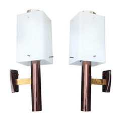 Stilnovo Bruno Gatta Sconces Pair, Mid-Century Modern White Brass Gold Burnished