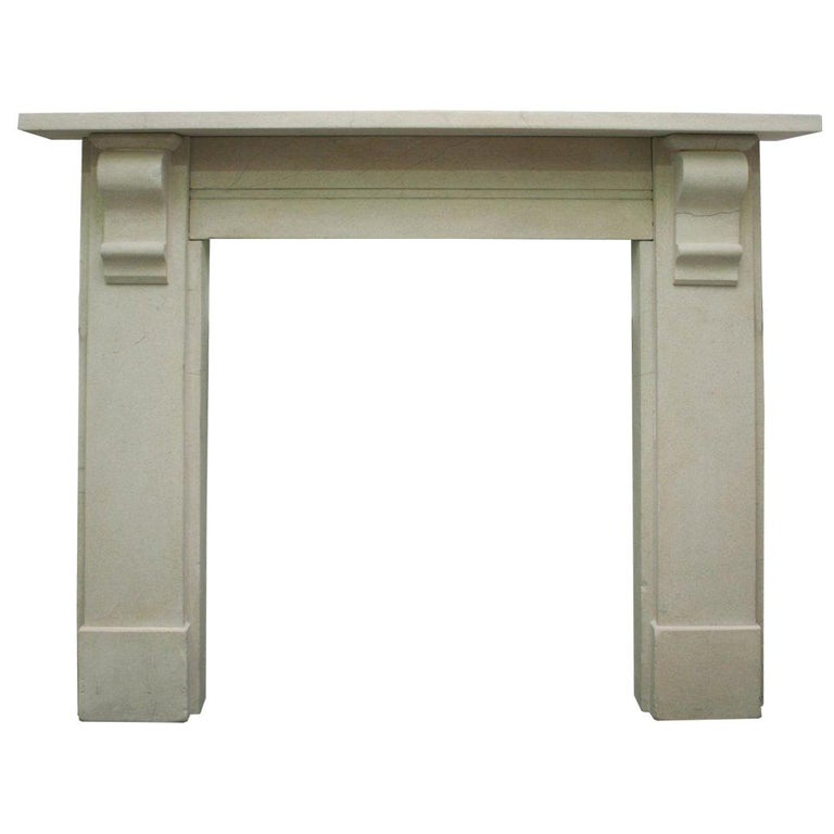 Antique Mid-19th Century Victorian Limestone Fireplace Mantel For Sale
