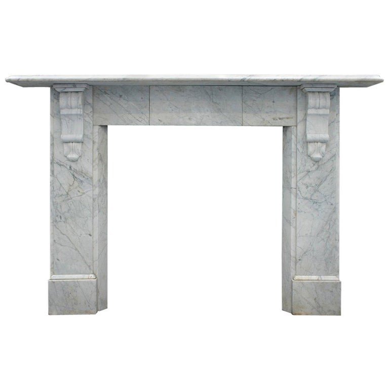 Antique Late Victorian Carrara Marble Fire Surround For Sale