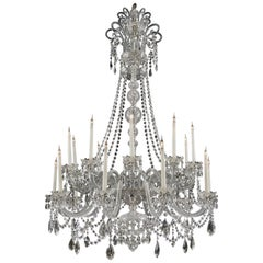 Large George III Style Cut-Glass Twenty-Light Chandelier, circa 1910