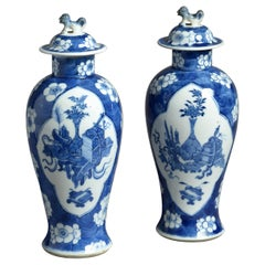 19th Century Pair of Blue and White Porcelain Vases