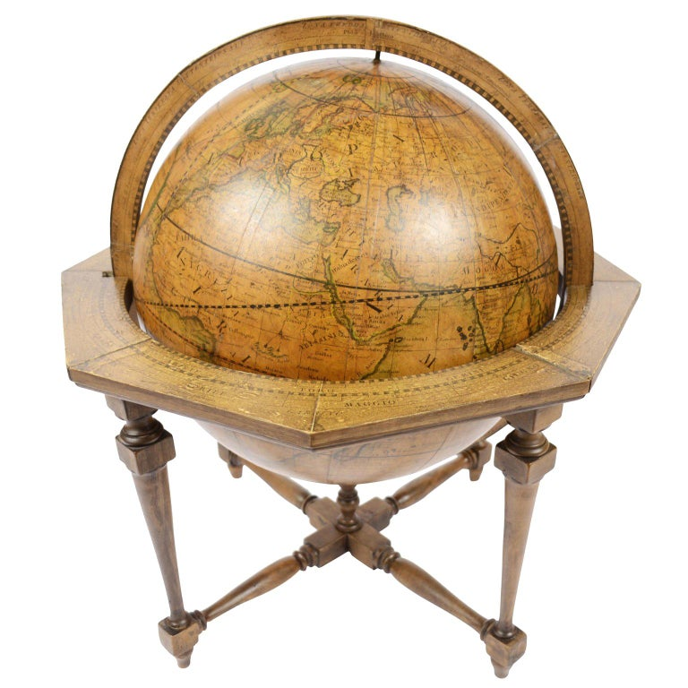 Terrestrial Globe Made According to the Knowledge of Giovanni Maria Cassini 1843 For Sale