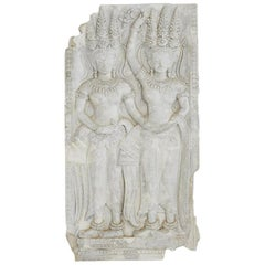Plaster Cast Panel of a Cambodian Angkor Wat Temple Carving