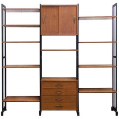1950s Midcentury Wood and Metal Modular Bookcase