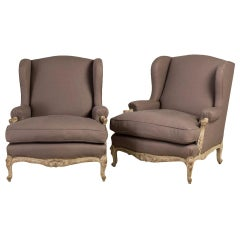 Late 19th Century Oversized Pair of French Armchairs