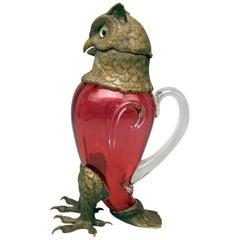 Jug Pitcher Glass Bronze Owl Josephinenhuette Design Franz Pohl Jr. Bohemia 1891
