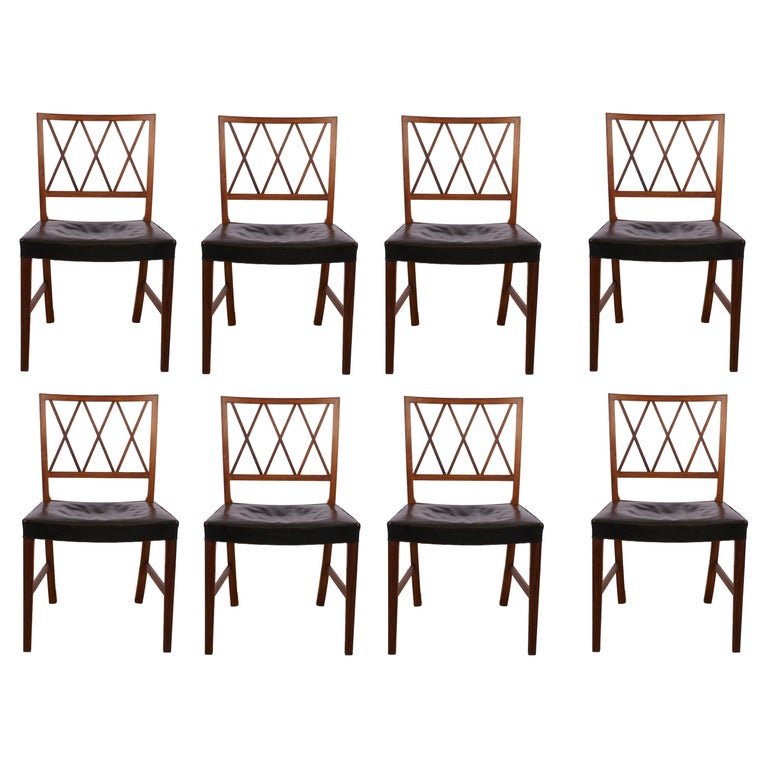 Ole Wanscher Set of 8 Dining Chairs, Rosewood by Cabinetmaker A.J. Iversen, 1942 For Sale