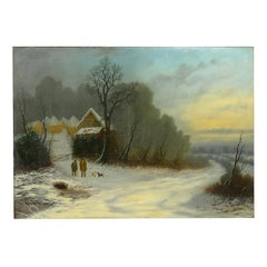 """A Winter Walk"" Landscape Oil Painting by William T. Such (British, fl. 1847-57)"