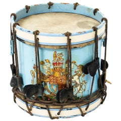 Antique Military Drum with British Royal Coat of Arms, Late 19th Century