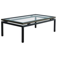 Vintage Coffee Table by Pierre Vandel Brass and Glass