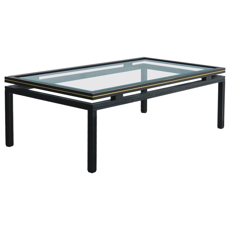 Vintage Coffee Table by Pierre Vandel Brass and Glass For Sale
